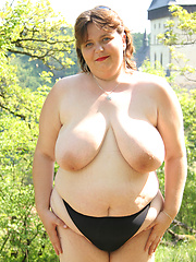 Big fat girl gets fucked in the woods!