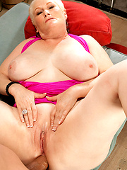 White-haired granny riding big rod