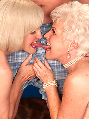 Duet of sex hungry grannies do their fantasies with student