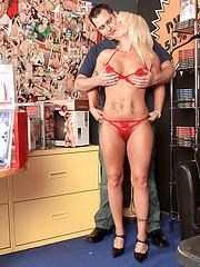 Hot white aged woman fuck in the sex shop