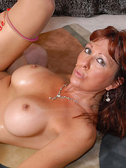 Well hung redhead milf in sexy stockings