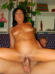 Hot brunette mom sucking and fucking