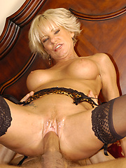Blond mature relaxing with stud