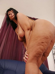 Hot 50 plus MILF gets jizz all over her saggy tits!