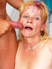 Hot old granny gets some young cock in her dusty cunt trap!