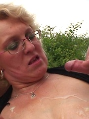 Sexy blonde granny slut fucked in her warm mouth and her wet pussy as she begs for more