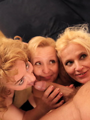 Blonde dude fucking three mature sluts