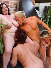 This lucky guy is fucking three mature sluts