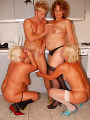 One lucky dude doing three mature sluts at once