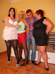 Three mature ladies take on one hard cock