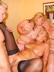 Three horny older ladies and one strapping partyboy