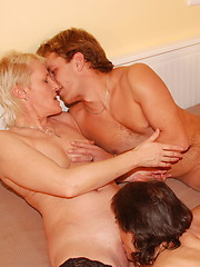 Three older ladies share one hard cock