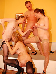 One dude to fuck three mature ladies