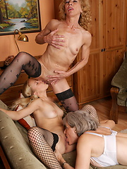 Group of old and young lesbians have fun