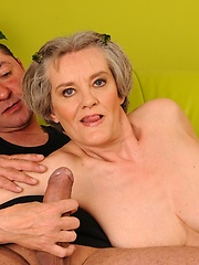 Real granny Aliz fucking hard with a younger guy