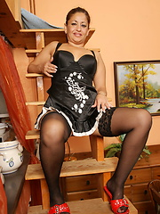 Amazing mature relaxing in bedroom after some outdor fun