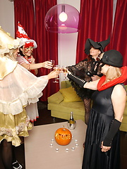 Haloween party of lesbian matures