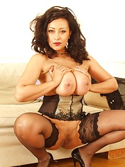 Danica - british MILF with perfect breasts and sexy legs in stockings