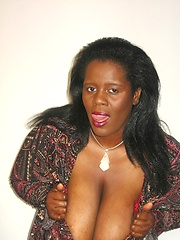 Black Ms Titty demonstrates her boobs