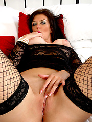 Hottest mature in black fishnet stockings and delicate body