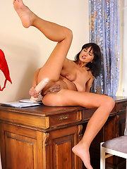 Toy inserting from horny brunette milf