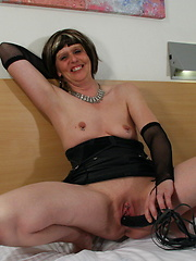 Pervert granny weared in black boots and pantyhose