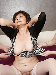 Young slut get used by two pervert older lesbians