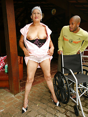 Silver granny Eva interracial fucking