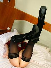 Mature mask in stockings enjoying herself