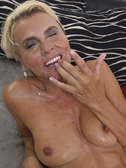 Blonde housewife fucking and sucking on the couch