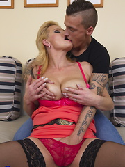 This horny housewife loves fucking with her toy boy