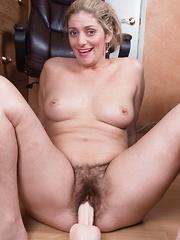Alicia Silver masturbates with her dildo at work