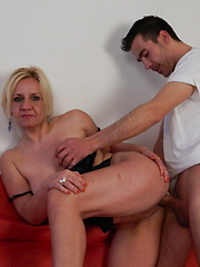 Horny mature Evelyn fucking and sucking like a maniac