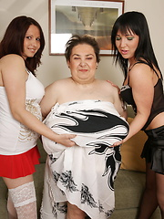 Three old and young lesbians have a party of their own