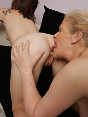 Naughty old and young lesbians love to get wet