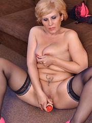 Naughty housewife masturbating and playing
