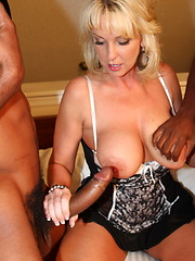 Alysha gets more than she can handle when two guys drench her in hot cum