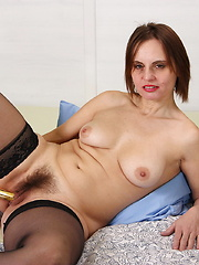 Horny hairy housewife playing by herself
