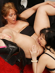 Four naughty old and young lesbians having a party