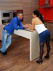 Horny housewife playing with her lover