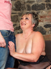 Chubby mama fooling around with her toy boy