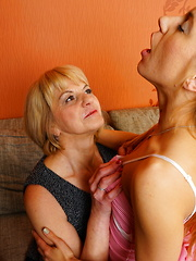 Horny old and young lesbian couple playing around