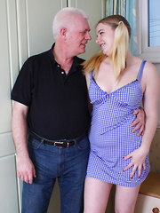 Horny British schoolgirl has fun with a dirty old man