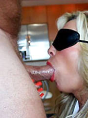 Blindfolded Wifey Gets Mouthful Of Cum