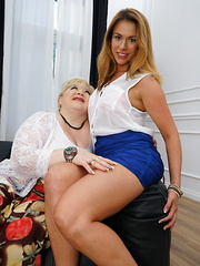 Hot babe having fun with a big breasted mature lesbian