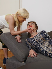 Hot old and young lesbian couple fooling around