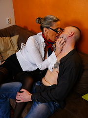 Naughty housewife playing with her younger lover