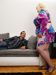 Big mature lady playing with her toy boy
